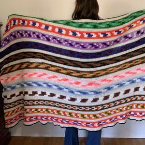 "Vintage Afghan Blanket 90"" X 47"" Full/Queen Size"